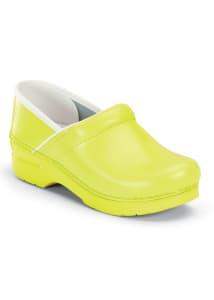 Yellow Neon Leather Nursing Clogs