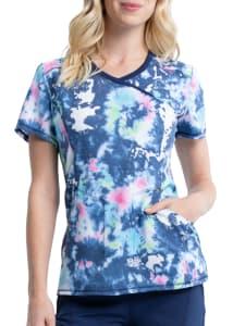 Bright Tie Dye Mock Wrap Print Top