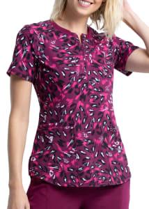 Heathered Cheetah V-Neck Print Top