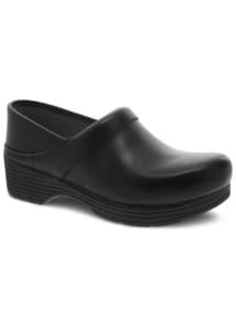 Black Leather Nursing Clogs