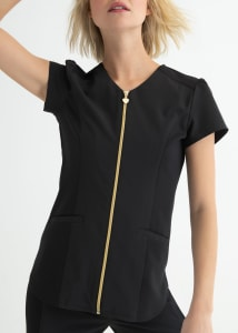 Limited Edition Zip Front Top with Ponte Knit