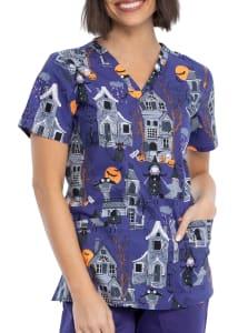 Haunted Halloween V-Neck Print Top