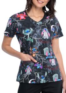 Spooky Stitch V-Neck Print Top