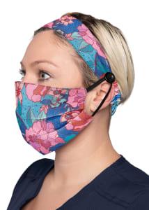 Line Floral Print Headband & Mask Set