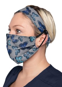 Stain Glass Butterfly Print Headband & Mask Set