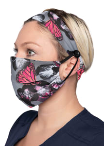 Orchid Bloom Print Headband & Mask Set
