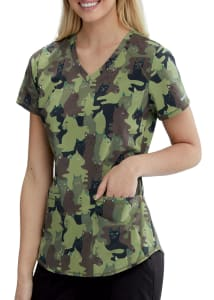 Camouflage Cats V-Neck Print Top