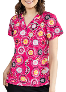 Medallion V-Neck Print Top