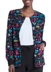 Love Cure Hope Snap Front Print Jacket