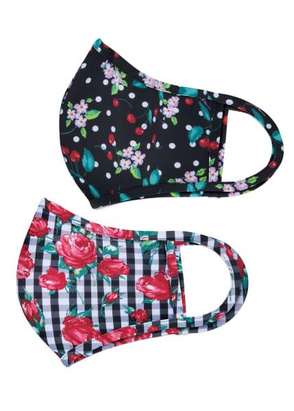 Betsey Johnson Cherry Blossom And Gingham Rose Print 2 Pack Mask Set