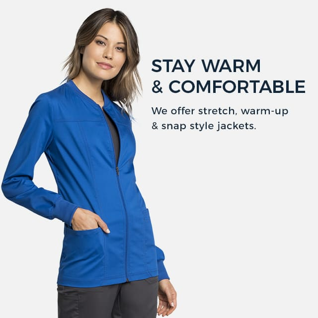 Stay warm and comfortable. We offer stretch, warm-up, and snap style jackets