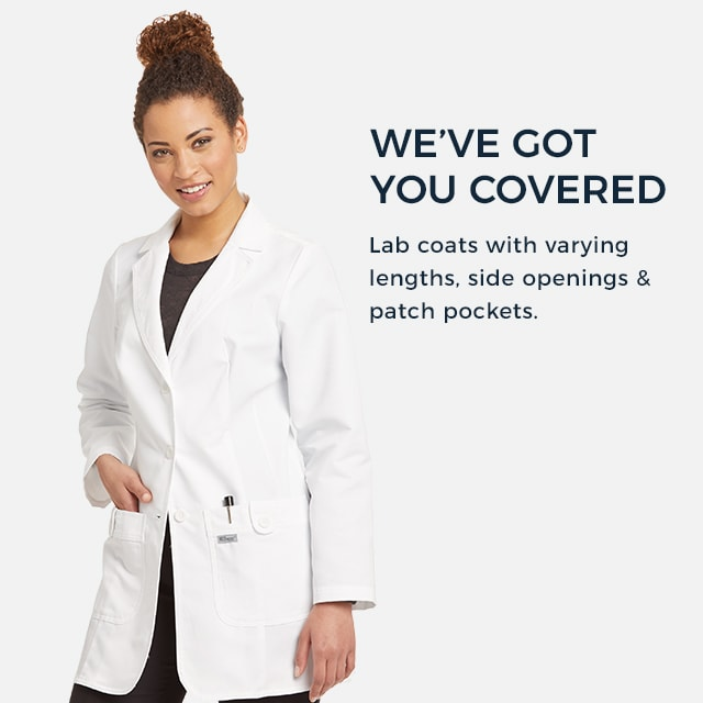 We've got you covered. Lab coats with varying lengths, side openings, and patch pockets.
