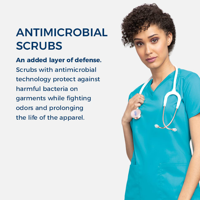 Antimicrobial scrubs give an added layer of defense. Scrubs with antimicrobial technology protect against harmful bacteria on garments while fighting odors and prolonging the life of the apparel.