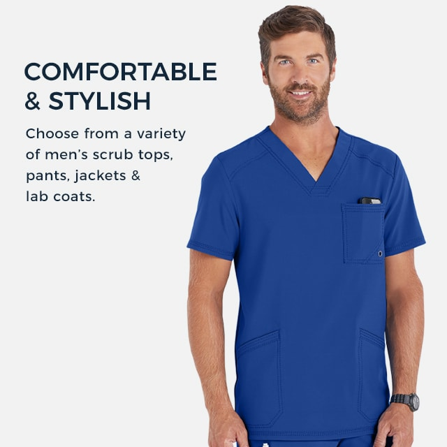 Comfortable and stylish! Choose from a variety of men's scrub tops, pants, jackets, and lab coats.