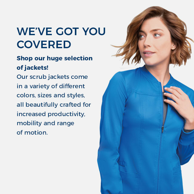 We've got you covered! Our scrub jackets come in a variety of different colors, sizes, and styles, all beautifully crafted for increased productivity, mobility, and range of motion.