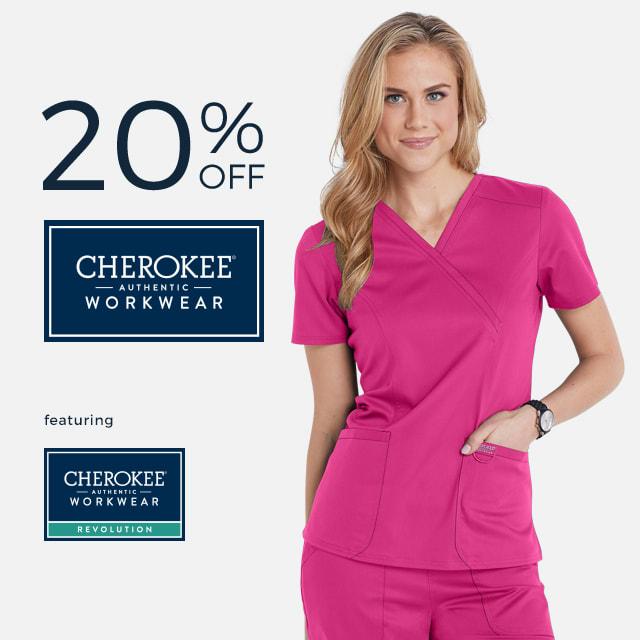 Get twenty percent off Cherokee Workwear!