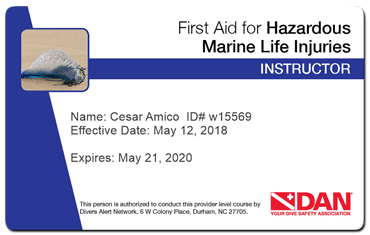 cesar amico - dan first hazardous marine fife injuries instructor