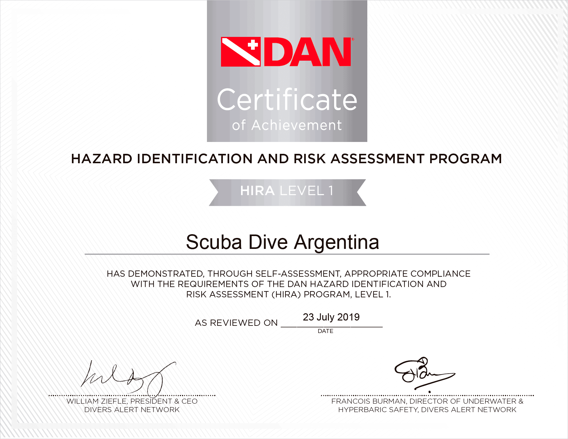 HIRA level 1 Scuba Dive Argentina