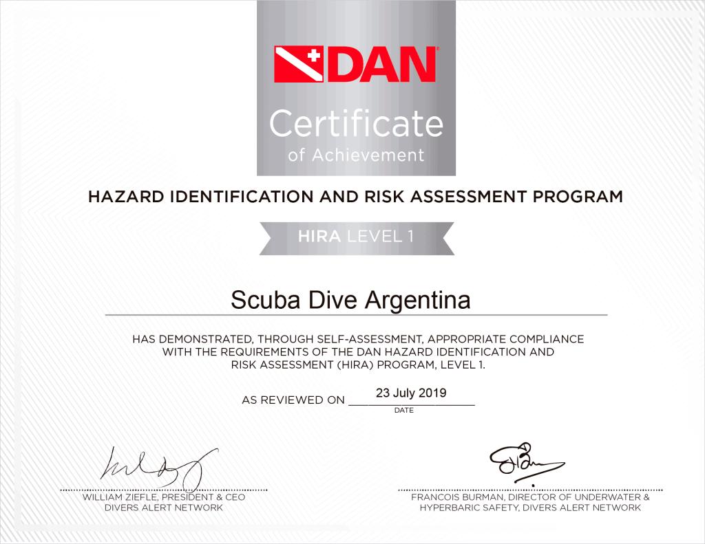 HIRA level 1 Scuba Dive Argentina