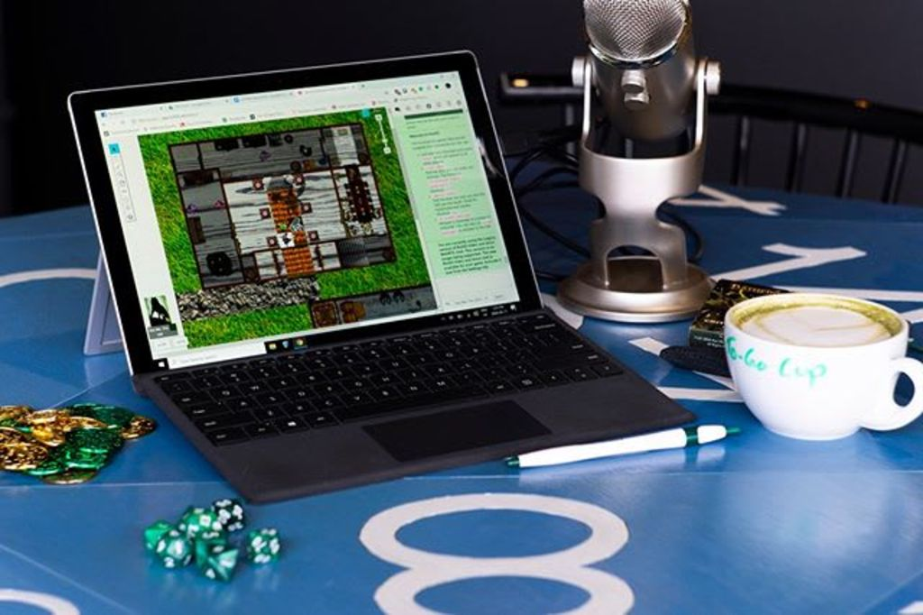 A game of D&D on Roll20 with a coffee