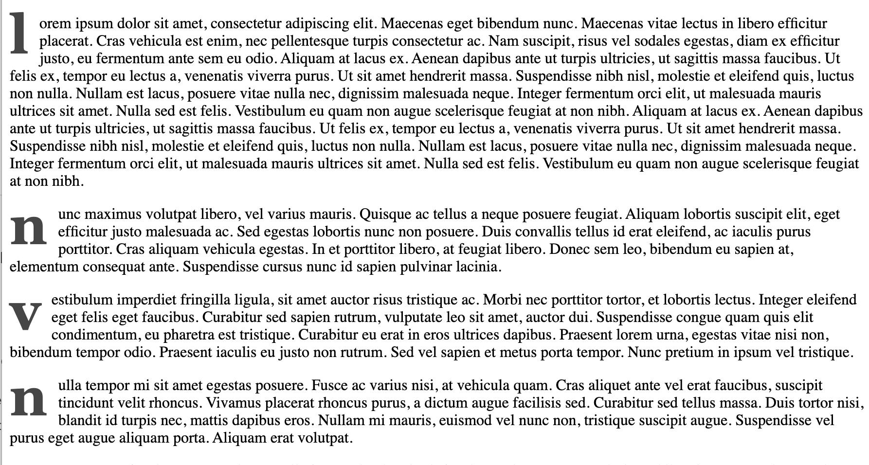 multiple paragraphs with drop caps