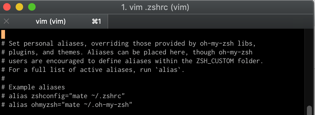 the .zshrc file - alias section