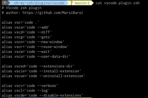 The VS Code plugin for oh-my-zsh with aliases
