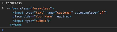console log of formClass
