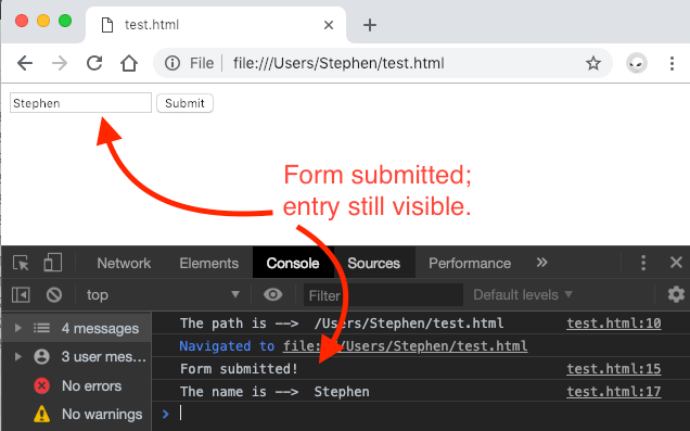 After submission, the form data is still visible