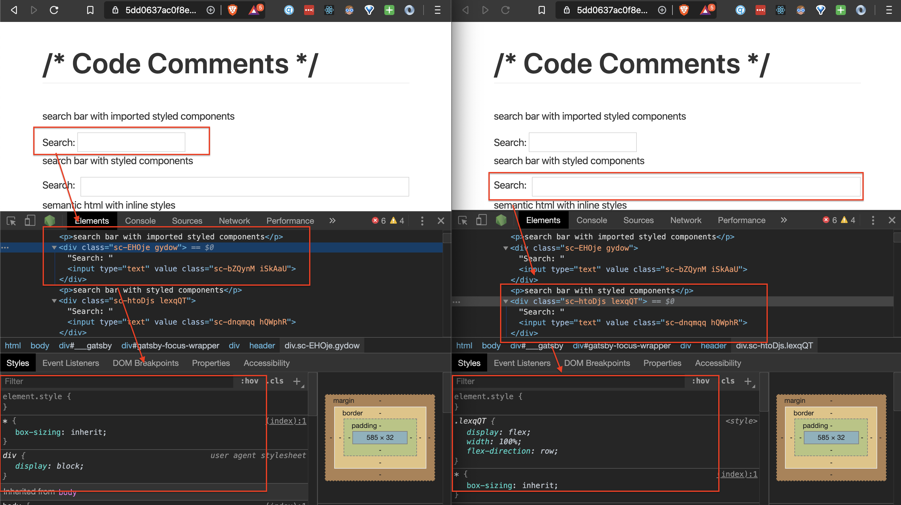A side-by-side view of styled components