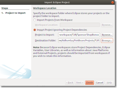 Import Project ignoring Project Dependencies