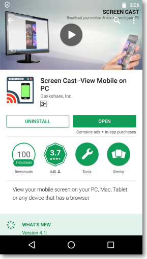 Screencast on PlayStore