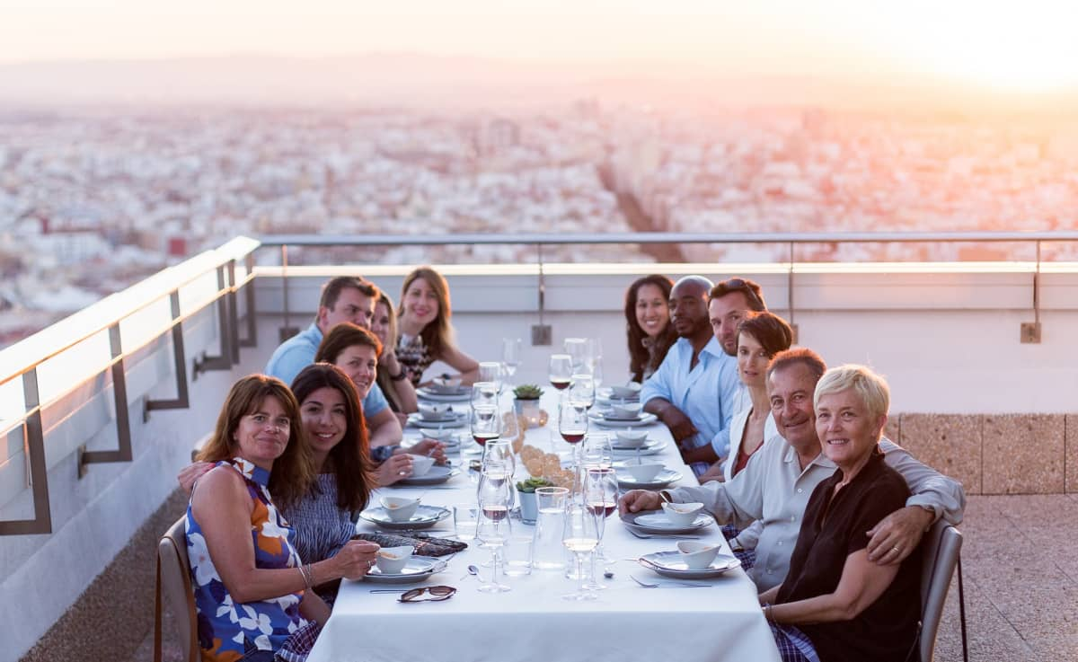 dinner with aerial view of valencia