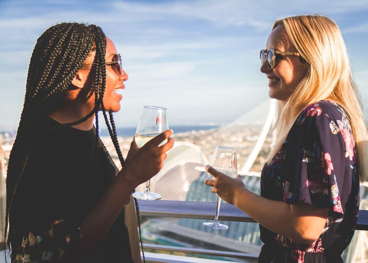 sunshine wine on rooftop terrace
