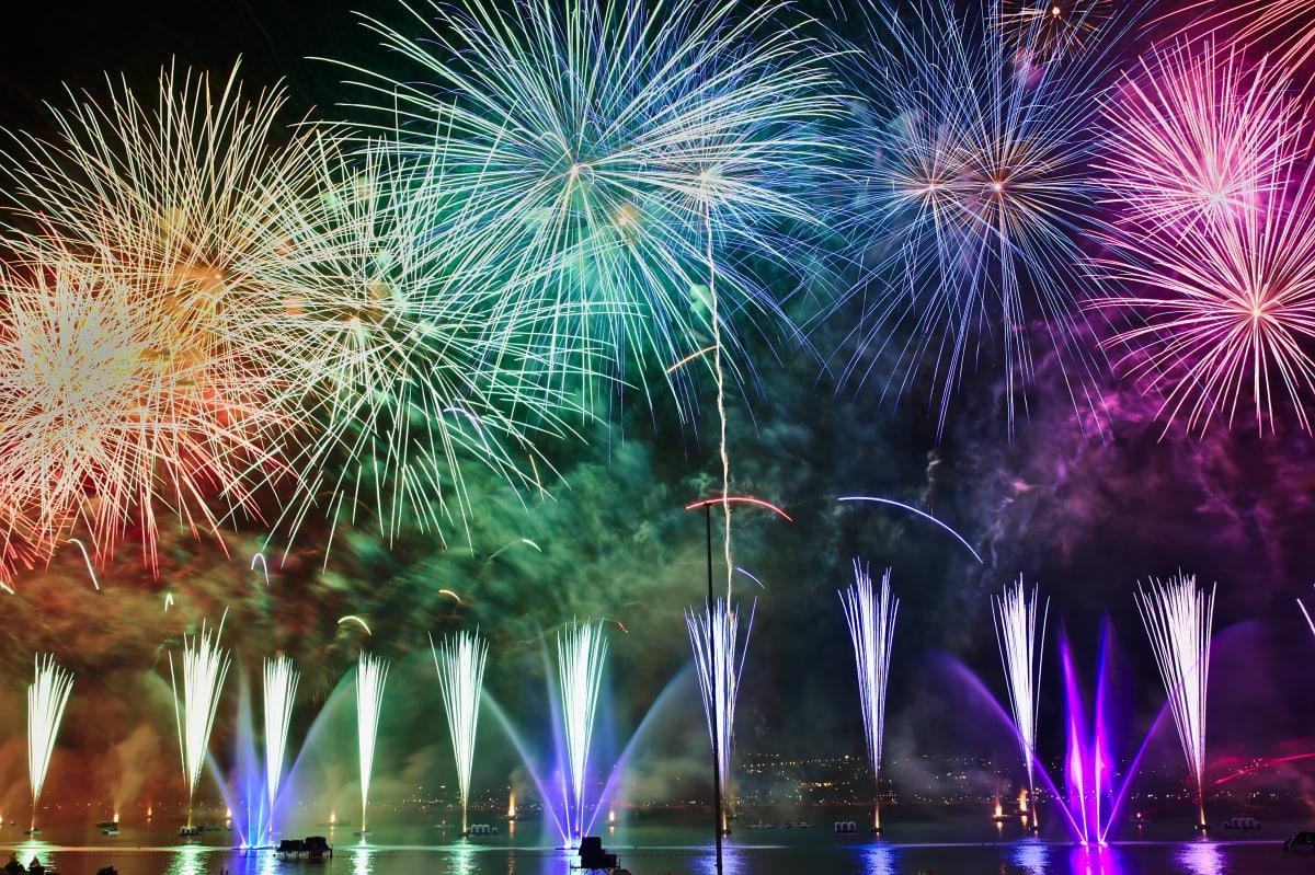 celebratory multicolour fireworks