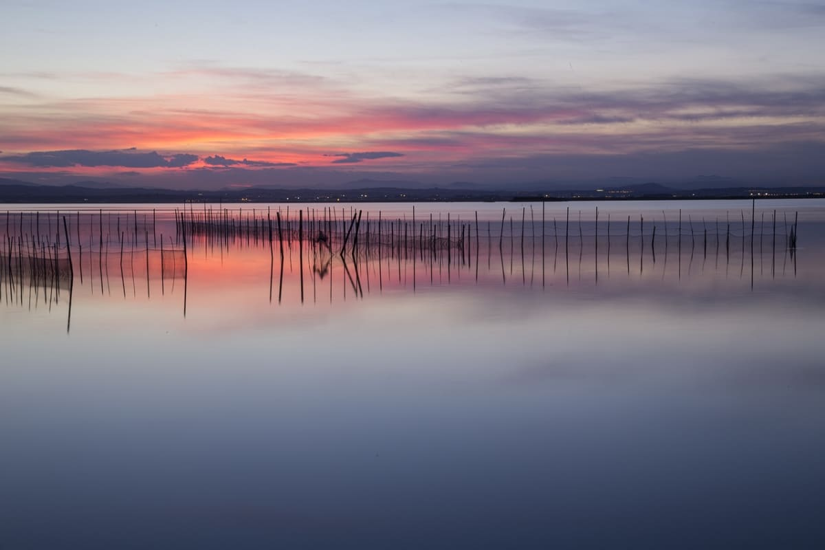 sunset on albufera lake
