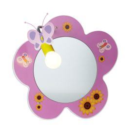 Novelty Children's Flower Mirror Wall Light, Pink