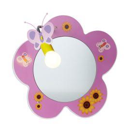 Novelty Children's Flower Mirror Wall Light, Pink