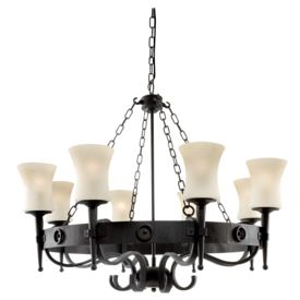 Cartwheel 8 Light Fitting In Black/brown Wrought Iron & Scavo Glass Shades