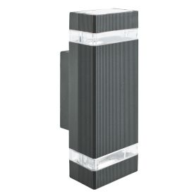 Aluminium Ip44 Black 2 Light Outdoor Wall Light Polycarbonate Diffuser