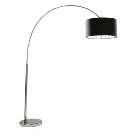 Arcs Chrome Floor Lamp With Black Fabric Shade & Silver Lining
