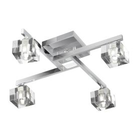 Sculptured Ice Chrome 4 Light Semi-flush Fitting With Clear Cube Glass