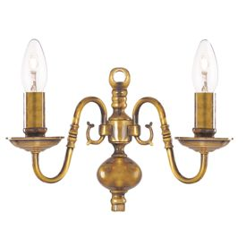 Flemish Solid Antique Brass 2 Light Wall Bracket With Metal Candle Covers