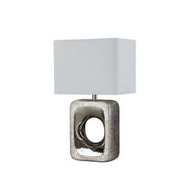 Grange Table Lamp - Silver Etched Base, Matching White Shade