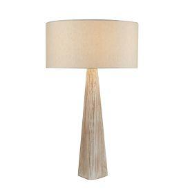 Bark Table Lamp, Wash Brown Base, Matching Oatmeal Shade