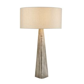 Bark Table Lamp, Wash Grey Base, Matching Oatmeal Shade
