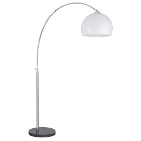 Arcs Chrome Floor Lamp With White Plastic Dome Shade