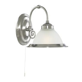 American Diner Satin Silver Wall Light With Acid Ribbed Glas