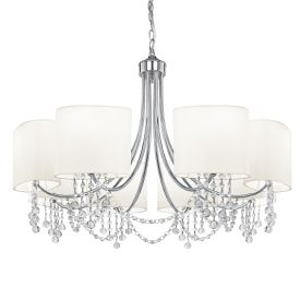 Nina Chrome 8 Light Fitting With Crystal Beads & White Fabric Shades