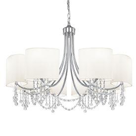 Nina Chrome 8 Light Fitting With Crystal Beads & White Fabric Shades